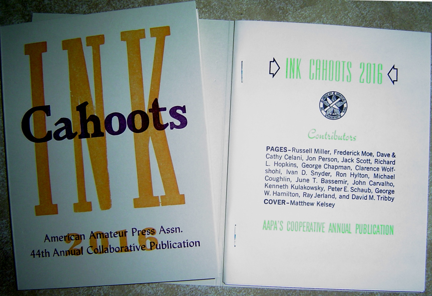 Ink Cahoots 2016 cover and title page